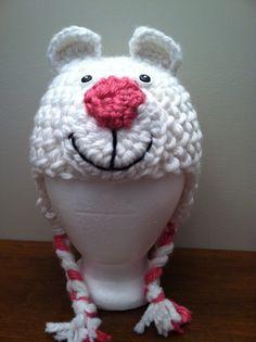 Crocheted custom made, Girls polar bear hat. on Etsy, $20.00