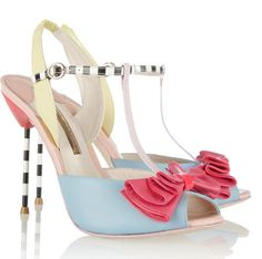 shoes with blue and yellow upper and coral bow