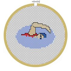 Swimmer, PDF Cross Stitch Patterns - Instant Download Cross Stitch Designs, Cross Stitch Patterns, Sewing Projects, Craft Projects, Cross Stitch Bookmarks, Bobble Stitch, Christmas Projects, Cross Stitching, Tricks