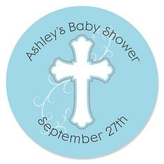 Little Miracle Boy Blue & Gray Cross - Personalized Baby Shower Round Sticker Labels - BabyShowerStuff.com