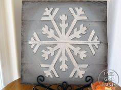 Lake Girl Paints: Big White Snowflake Painted on Wood Pallet Boards