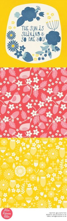 The Sun Is Shining And So Are You Typography and Pattern collection Alice Potter 2016 http://alicepotter.co.uk/