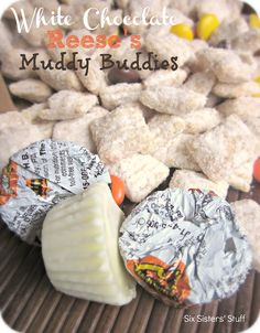White Chocolate Reese's Chex Muddy Buddies ~ Six Sister's Stuff Puppy Chow Recipes, Chex Mix Recipes, Snack Recipes, Dessert Recipes, Candy Recipes, Yummy Snacks, Delicious Desserts, Yummy Food, Yummy Treats