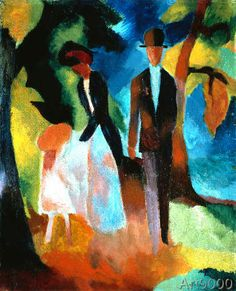 A beautiful oil on canvas painting of Leute Am Blauen See by one of the leading members of the German Expressionist group August Macke. August Macke, Franz Marc, Paul Klee, Wassily Kandinsky, Cavalier Bleu, André Derain, Maurice De Vlaminck, Blue Rider, Expressionist Artists