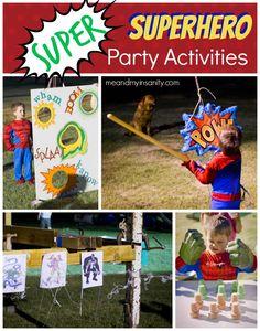 Birthday for Kids Superhero Birthday for Kids - Game and activity ideas.Superhero Birthday for Kids - Game and activity ideas. Avengers Birthday, Batman Birthday, Superhero Birthday Party, Birthday Party Games, 4th Birthday Parties, Boy Birthday, Batman Party, Superhero Party Favors, Birthday Ideas