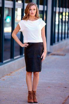 gilt   gossamer - Black Vegan Leather Pencil Skirt , (http://www.giltandgossamer.com/black-vegan-leather-pencil-skirt/)