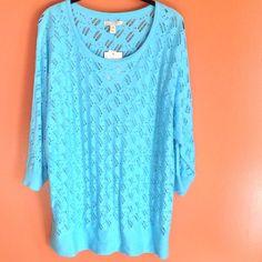 NWT Dana Buchman Sweater NWT Dana Buchman Sweater. 3/4 sleeves, scoopneck, ripped design. 55% Cotton 25% Nylon 20% Viscose. Dana Buchman Sweaters Crew & Scoop Necks