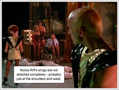 """You can clearly see the wing is not """"sewn"""" down the front of the space suit - you can see it even more cl. Rocky Horror Picture Show Costume, Rocky Horror Costumes, Rocky Horror Show, Magenta Rocky Horror, Space Costumes, Shock Treatment, Fancy Dress, Wings, Cosplay"""