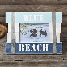 Blue Beach Table Number holder / Frame 6 x 4 - Horizontal