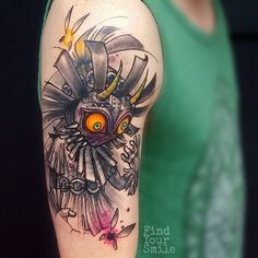 50 Majora's Mask Tattoo Designs For Men - The Legend Of Zelda Ideas Nintendo Tattoo, Gaming Tattoo, Nintendo N64, Legend Of Zelda Tattoos, Gamer Tattoos, Hand Tattoo, Sick Tattoo, Wrist Tattoo, Body Art Tattoos