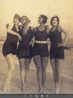 Rosa Covarrubias (Rosa Rolando/a) and 3 friends at the beach.  She was the wife of Miguel Covarrubias.