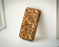 Custom Bamboo case engraved Pasley Floral by InkedPanda on Etsy, $31.99