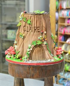 Sculpted Woodland Tree Stump Cake by Beverly's Bakery