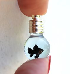 Tiny Black Goldfish in Glass Bulb Vial Pendant or Charm