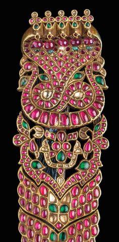India | Hair ornament (jadai nagam); gold, rubies, emeralds, diamonds | Tamil Nadu, 19th century