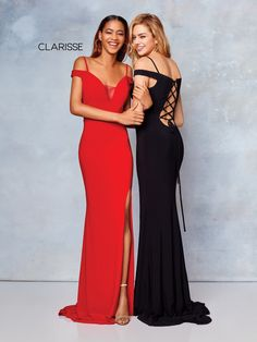 3772 - Red and black off the shoulder, jersey prom dress with back strap  details