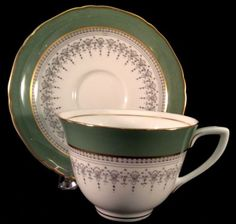 Regency Flat Cup And Saucer Royal Worcester 1966 Sage Green And Grey Z2730 Tea