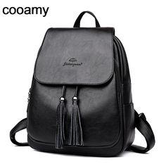 Aliexpress.com   Buy Women Pu Leather Backpacks Tassel Mochila Feminina  Rucksack Mochilas Mujer Shoulder School Bags For Teenage Girl Travel  Backpack from ... f14041abeb