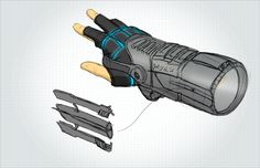 Telescoping arm gauntlet with ejectable grappling hook