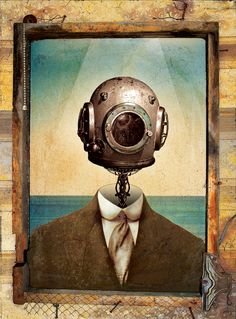 scuba steampunk diver deep sea old diving helmet 18x24 Jack Stoltz emerged steam punk goth poster gothic death wallpaper old window print on Etsy, $15.00