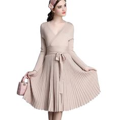 44779d3070e9 2017 New Spring Women s Fashion Sexy Dresses A line Deep V Neck Belted  Pleated Vintage Dress Long Sleeve Knitting Dress FL447-in Dresses from  Women s ...