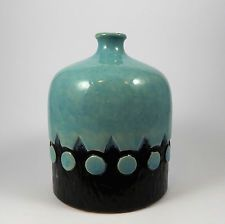 West German Jasba Blue Relief Vase Fat Lava 1960s 1970s  157521