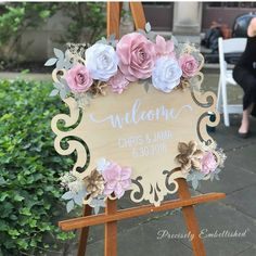 This wooden wedding welcome sign comes personalized with your names, wedding dat. This wooden wedding welcome sign comes personalized with your names, wedding date and paper flower embellishments. Wedding Date Sign, Wedding Welcome Signs, Wedding Signs, Diy Wedding, Wedding Flowers, Trendy Wedding, Wedding Bride, Bridal Shower Welcome Sign, Wedding Wall