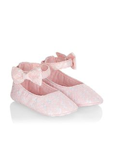 Baby Crochet Lace Bow Bootie | Pink | Monsoon