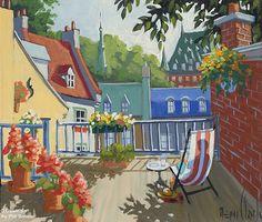Rémi Clark, 'Balcon fleuri', x Art Gallery, Clark Art, Beauty In Art, Cottage Art, Naive Art, Figurative Art, Landscape Paintings, Quilt Patterns, Quilting