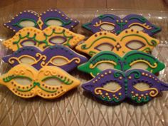 Mask Cookies - great idea for mardi gras cake decor