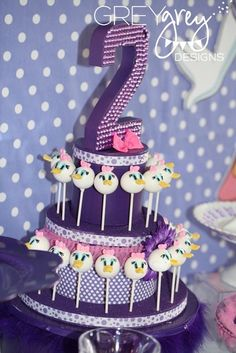 This charming DAISY DUCK SECOND BIRTHDAY PARTY was submitted by Brittany Schwaigert of GreyGrey Designs. It's so fun to see someone besides Minnie taking center stage in a Disney character party! Daisy Duck Party, Daisy Duck Cake, Lila Cake Pops, Purple Cake Pops, Girl 2nd Birthday, 2nd Birthday Parties, Birthday Ideas, Birthday Cake, Big Cakes