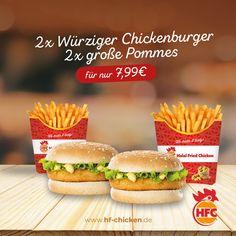 Du willst ein Menü für zwei Personen von unserem leckeren Würzigen Chickenburger? Wie gut das wir etwas passendes in unserem Mega Deal des Monats haben ;) . 2x Würziger Chickenburger 2x große Pommes für nur 7,99€ . Und Muffin gibt es GRATIS dazu! (Nur solange der Vorrat reicht) . #hfc #hfchicken #hfchickende #fastfood #burger #burgers #hamburger #chickenburger #fingerfoods #food #instafood #chicken #pommes #fastfoodliebhaber #instaburgers #deutschland #dillenburg #giessen #lieferservice Fast Food, Hamburger, Muffin, Chicken, Ethnic Recipes, How To Make, Germany, Muffins, Burgers