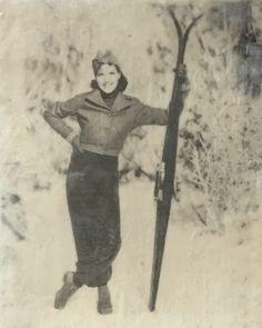 Vintage Skier encaustic painting by Lee Anne LaForge Bear Paintings, Cute Paintings, Outdoor Rink, Sports Painting, Cast Glass, Encaustic Painting, Canadian Artists, White Aesthetic, Winter Landscape