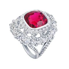 Fabergé 7.69ct red spinel and diamond ring