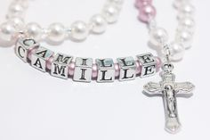 Personalized Rosary for Baptism or Babys First in White and Pink pearls. $36.00, via Etsy.