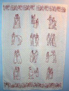 """Regency Redwork, a story book quilt based on Jane Austen's """"Pride and Prejudice"""" redwork pattern"""