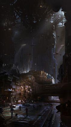 hayleyglyphs: Bruno Werneck's concept art work for the cancelled 'Star Wars: video game. Cyberpunk City, Ville Cyberpunk, Cyberpunk Kunst, Futuristic City, Fantasy City, Sci Fi Fantasy, Fantasy World, Concept Art Landscape, Fantasy Landscape