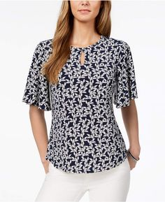 Charter Club Flutter-Sleeve Top, Created for Macy's - Blue XXL Blouse Styles, Blouse Designs, Flutter Sleeve Top, Short Tops, Mode Outfits, Classy Dress, Simple Dresses, Chiffon Tops, Blouses For Women