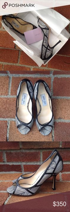 Jimmy Choo Silk 'Hardy' Pump The Hardy from Jimmy Choo. Black and white abstract silk peep toe pump with black nappa leather trim. Size 38. Worn once to a wedding. Comes with the original box. Jimmy Choo Shoes Heels