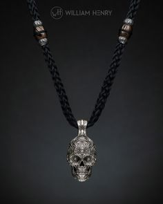 Badass silver skull pendant on kevlar cord, with insets in sterling silver and mokume gane (the ancient Japanese forging art once used to decorate the hilts of samurai swords). And a nod to #GameOfThrones