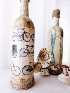 vintage vase - modge podge antiqued paper to a wine bottle and glue some twine around the top.