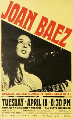 1967 Joan Baez Concert Poster, Berkeley Community Theatre