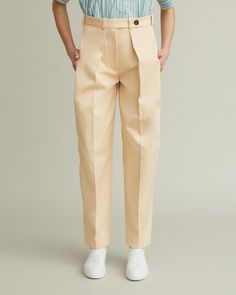 High-waisted trouser with deep front pleats, pintuck detailing and tab-front closure. Retail Concepts, Pin Tucks, Cool Suits, Apothecary, Designing Women, Khaki Pants, Trousers, Closure