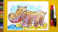 Как нарисовать БЕГЕМОТА, Урок рисования для детей от 3 лет