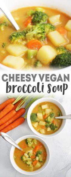 Vegan Broccoli Cheese Soup - no actual cheese, but lots of flavor in this healthy soup recipe via @karissasvegankitchen