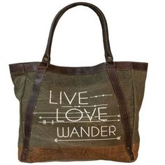 Rustic Style Canvas Tote Bag With 'Live, Love, Wander' Design