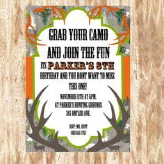 Camo Birthday Invitations Buck Hunting Boy 1st First Invites Set