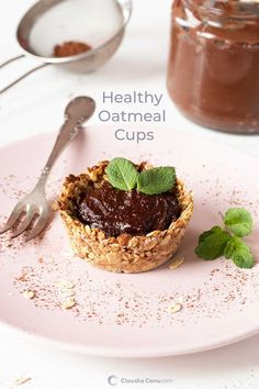 Cups with Healthy Fillings - Oatmeal Cup with Healthy Nutella - Make this cute snack, or dessert, with just a few ingredients and enjoy it with a delicious healthy Nutella. It's perfect for Mother's day Good Healthy Recipes, Healthy Breakfast Recipes, Brunch Recipes, Gourmet Recipes, Whole Food Recipes, Dessert Recipes, Healthy Eating, Healthy Brunch, Eating Clean