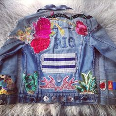 """From my private collection- my old tried & true #denim #jacket #embroidery #beading #sequins #patches #buttons"""