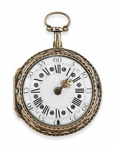 A LATE 18TH CENTURY REPEATING POCKET WATCH  The white dial with black painted Roman numerals, Arabic seconds and pierced gold hands with rose-cut diamond point accents, to a pierced case and further outer hinged cover with three-colour chased decoration depicting a reclining figure within a foliate, floral and ribbon border, 4.7cm wide, with two keys